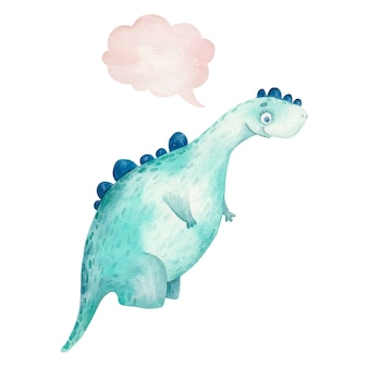 Милый динозавр улыбается и думает значок, облако, детская иллюстрация акварель