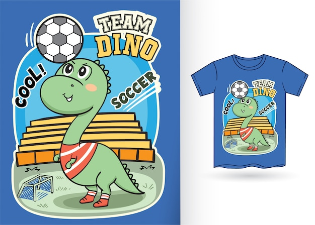 Cute dino soccer player illustration for t shirt
