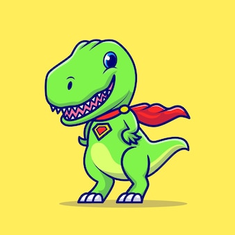 かわいいディノスーパーヒーロー漫画アイコンイラスト。分離された動物のヒーローアイコンの概念。フラット漫画スタイル