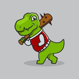 Cute dino t rex urban culture mascot design