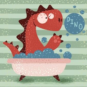 Cute dino wash in bathroom