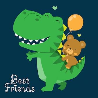 Милый динозавр и медведь иллюстрация
