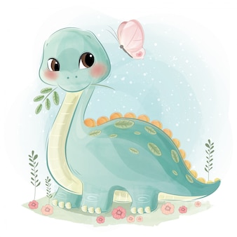 かわいい恐竜と蝶