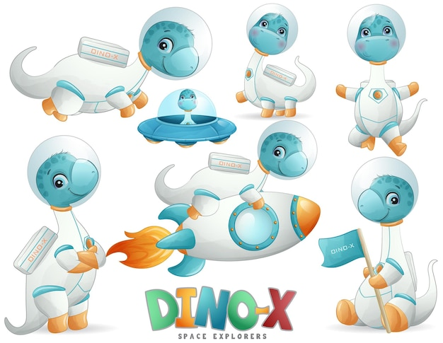 Cute dinosaur astronaut poses in watercolor style illustration set