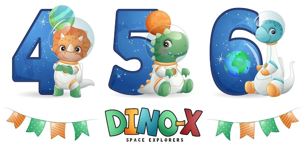 Симпатичный динозавр-космонавт с набором нумерации иллюстраций