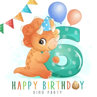 Cute dinosaur birthday party with numbering illustration