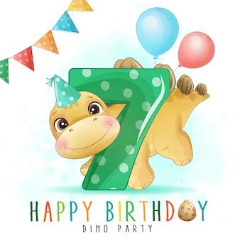 番号のイラストがかわいい恐竜の誕生日パーティー