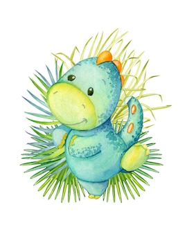 Cute dinosaur, blue color, dancing, on the background, tropical leaves. watercolor, animal, cartoon style, on an isolated background, for children's decor.