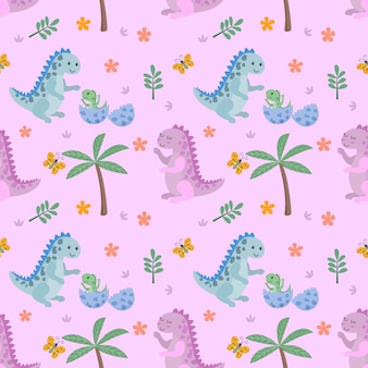 Cute dinosaur and butterfly seamless pattern.