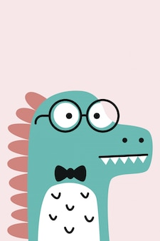 Cute dinosaur cartoon for children poster illustration . flat dinosaur character