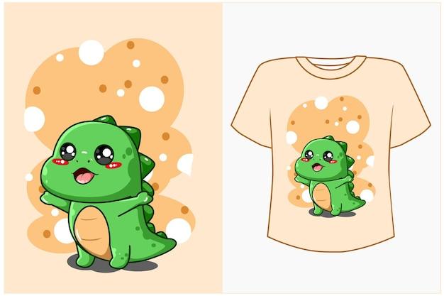 Милый динозавр мультяшный дизайн для футболки