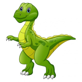 Cute dinosaur cartoon isolated on white