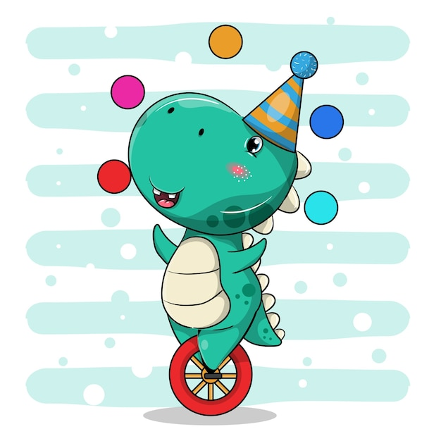 Cute dinosaur cartoon riding a unicycle