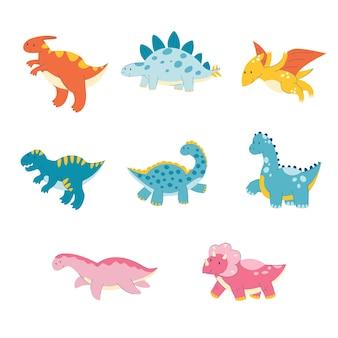 Cute dinosaur cartoon set dino triceratops diplodocus parasaurolophus tyrannosaurus a reptile