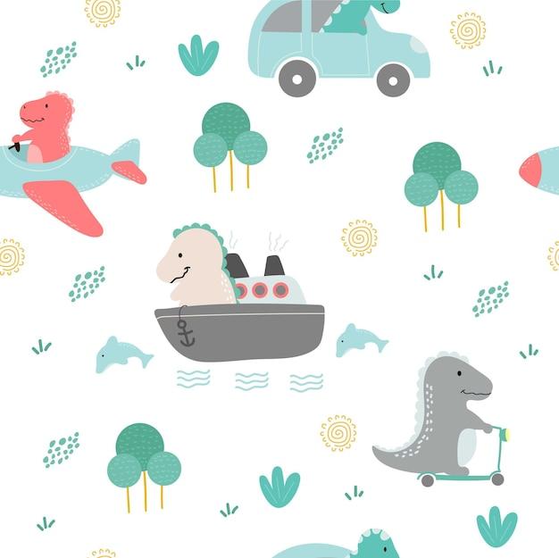 귀여운 공룡 캐릭터 원활한 패턴 프리미엄 벡터