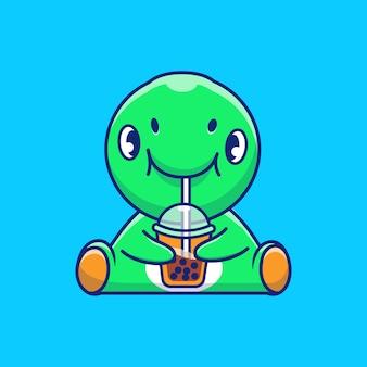 Boba 아이콘 그림을 마시는 귀여운 공룡. 디노 마스코트 만화 캐릭터. 고립 된 동물 아이콘 개념