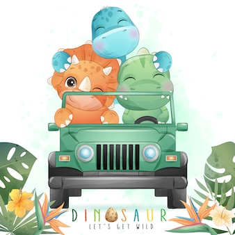 Cute dinosaur driving a car with watercolor illustration