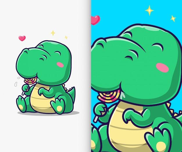 Cute dinosaur eat lollipop icon illustration. dinosaur mascot cartoon character.