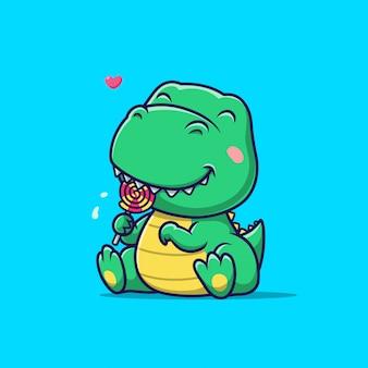 Милый динозавр ест леденец на палочке