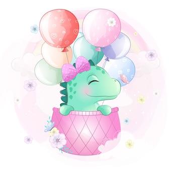 Милый динозавр летит с воздушным шаром