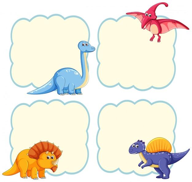 かわいい恐竜のフレームテンプレート