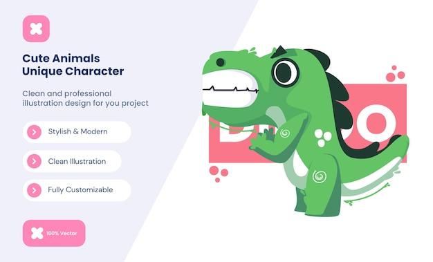귀여운 공룡 아이콘 그림입니다. 동물 사랑 아이콘 개념