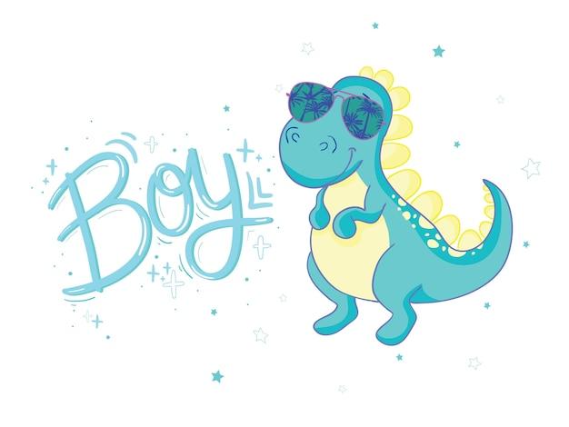 赤ちゃんtシャツプリントのベクトルとしてかわいい恐竜イラスト Premiumベクター