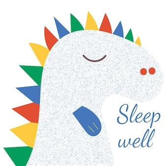 Cute dinosaur illustration with grunge texture. calligraphy phrase, lettering sleep well.
