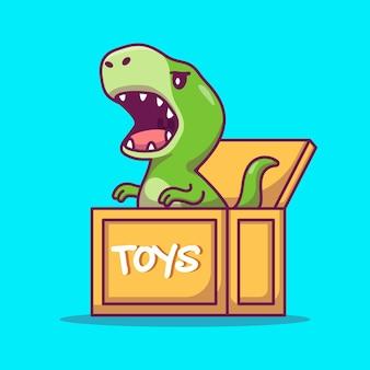 Милый динозавр в коробке иллюстрации шаржа. концепция животных значок