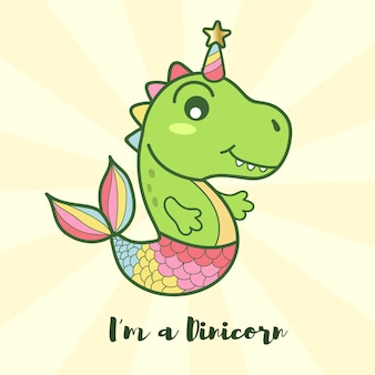 Cute dinosaur mermaid unicorn logo