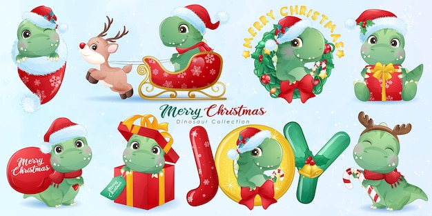Cute dinosaur for merry christmas with watercolor illustration set