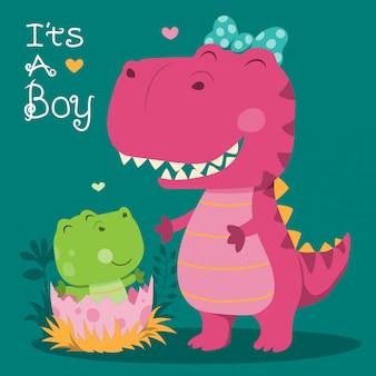 かわいい恐竜のママと赤ちゃんのイラスト