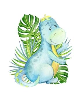 熱帯の葉を背景にしたかわいい恐竜。ポスター、子供の装飾のための、漫画風の、孤立した背景の水彩クリップアート。