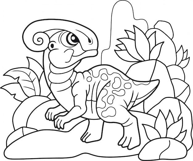 Cute dinosaur parasaurolophus