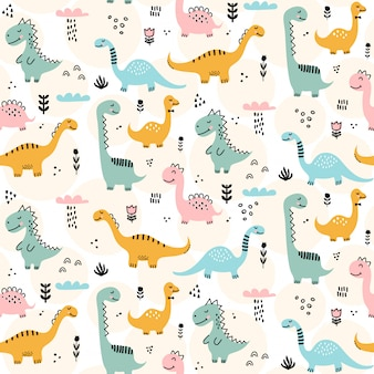 Cute dinosaur pattern - hand drawn childish dinosaur seamless pattern design