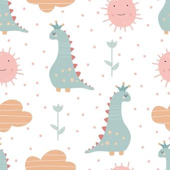 귀여운 공룡 패턴 - 손으로 그린 유치한 공룡 원활한 패턴 디자인