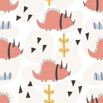 Cute dinosaur pattern - hand drawn childish dinosaur seamless pattern design