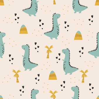 Cute dinosaur pattern hand drawn childish dinosaur seamless pattern design
