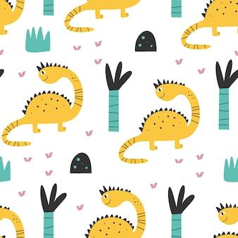 귀여운 공룡 패턴 - 손으로 그린 유치한 공룡 원활한 인쇄 디자인 디지털 종이