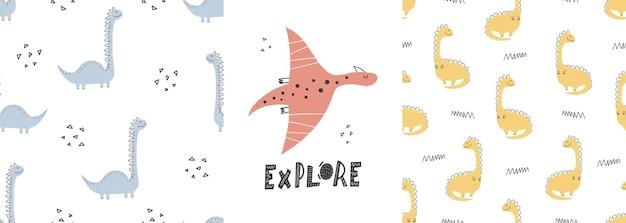 Cute dinosaur patterns with lettering  hand drawn childish dinosaur seamless pattern design