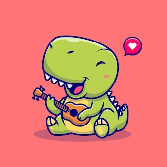 Cute dinosaur playing guitar on red