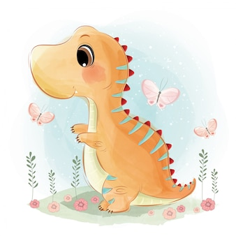 Cute dinosaur playing happily