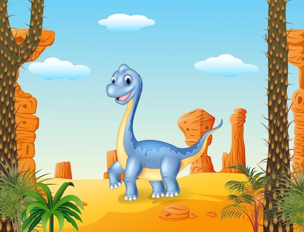Cute dinosaur posing with the desert background