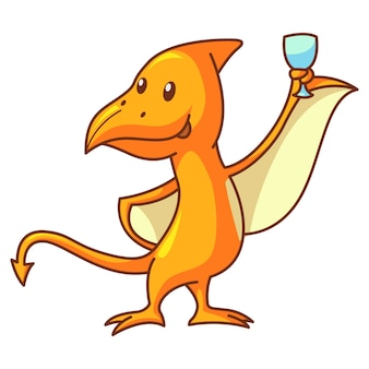 Cute dinosaur pteranodon with beer glass.