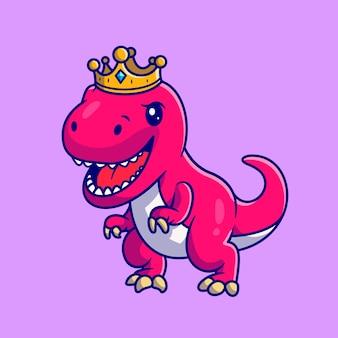 왕관과 함께 귀여운 공룡 여왕. 플랫 만화 스타일