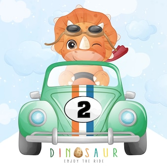 Cute dinosaur riding a racing car with watercolor illustration