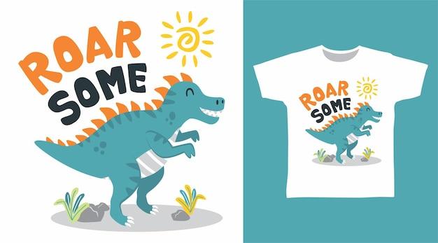 티셔츠 디자인을 위한 으르렁거리는 귀여운 공룡