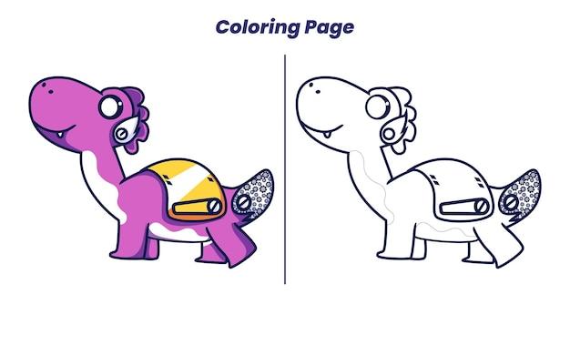 색칠 공부 페이지가 있는 귀여운 공룡 로봇