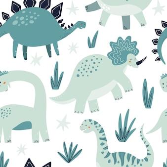 かわいい恐竜のシームレスなパターン。 hそして、テキスタイル、ファブリック、または壁紙のベクトル図を描画します。