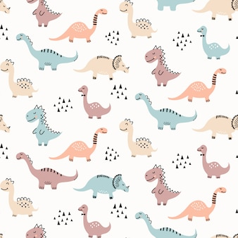 Cute dinosaur seamless pattern